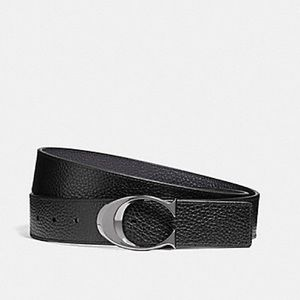 a67e802470 WIDE SCULPTED C PEBBLE LEATHER BELT BLACK/MIDNIGHT NWT